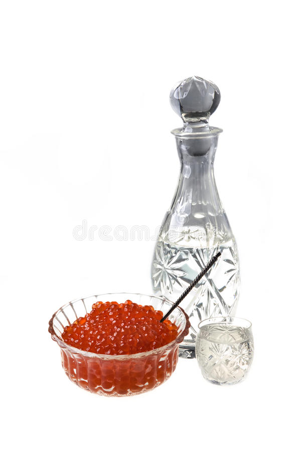 Vodka and capacity with red caviar