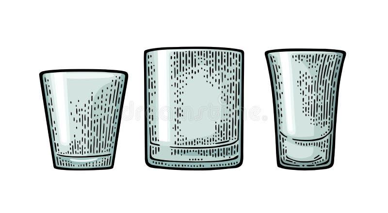 Vodka di vetro vuota, whiskey, rum, tequila Vettore che incide annata nera illustrazione vettoriale