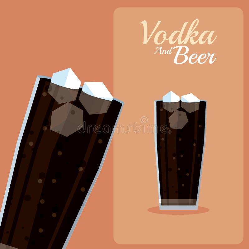 Vodka et bière d'Imprimir illustration libre de droits