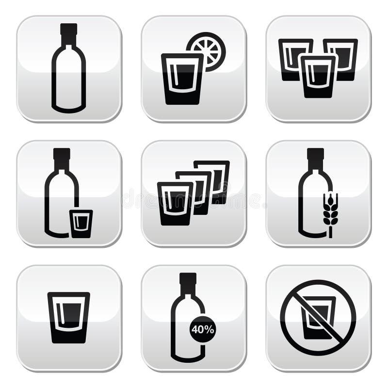 Vodka, forti bottoni dell'alcool messi illustrazione vettoriale