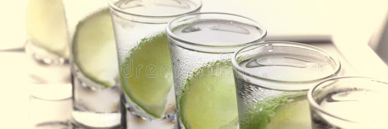 Vodka gin, tequila med limefrukt coctail royaltyfri fotografi