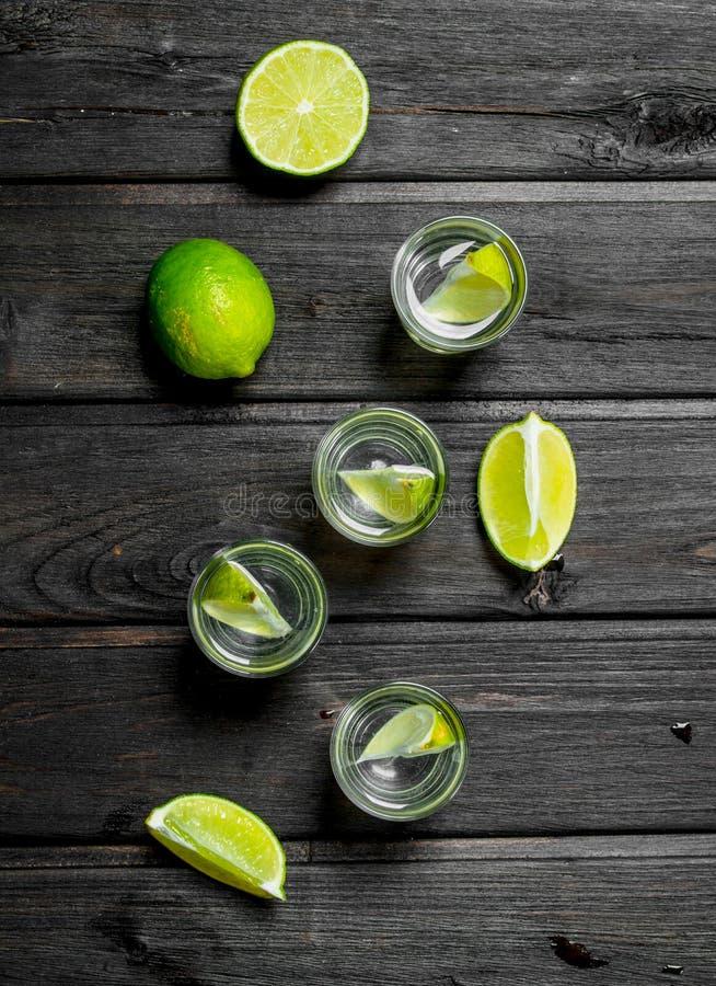 Vodka i skivor för ett skjutit exponeringsglas och limefrukt arkivfoton