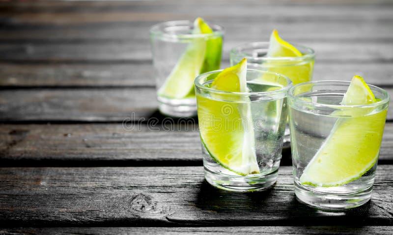 Vodka med limefruktskivor i ett skjutit exponeringsglas royaltyfri fotografi