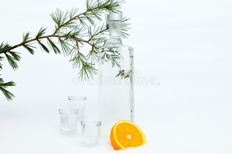 Vodka med två exponeringsglas royaltyfri fotografi