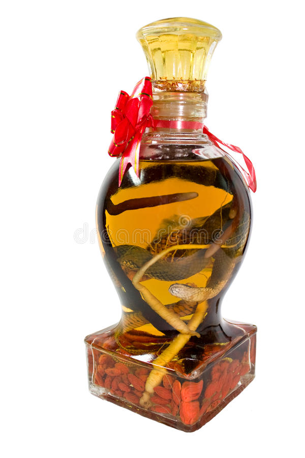Vodka with snake in a bottle royalty free stock photos