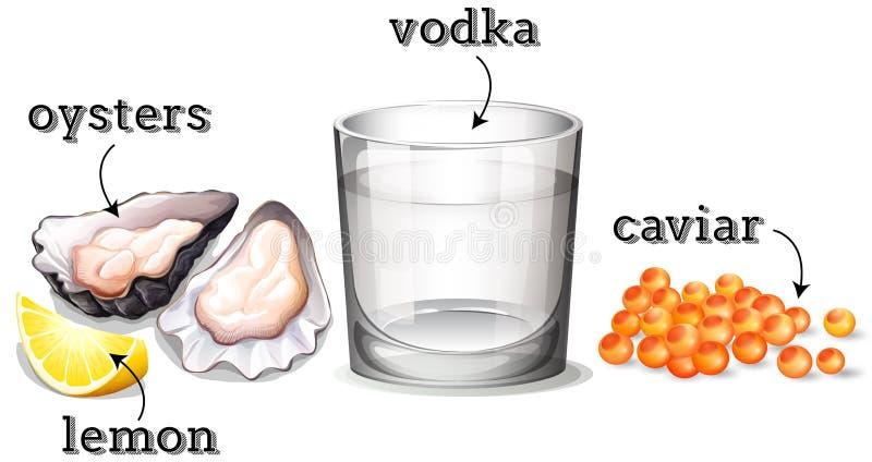 Vodka in vetro ed altri ingredienti royalty illustrazione gratis