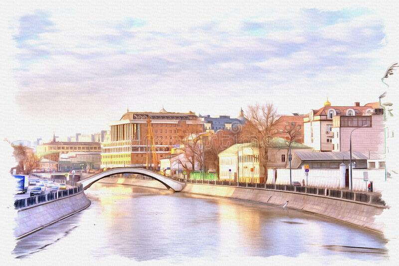 Vodootvodny Canalin the city of Moscow. Imitation of a picture. Oil paint. Illustration royalty free stock image