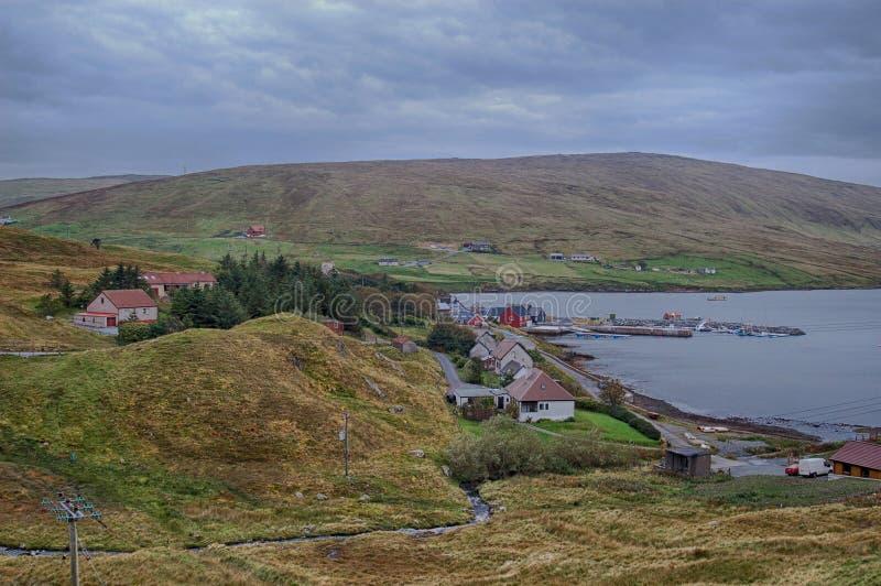Voe村庄在舍特兰群岛 免版税库存图片