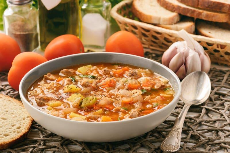 Voedende soep met vlees, rijst en groenten - mastava Oezbekistaanse keuken stock afbeeldingen