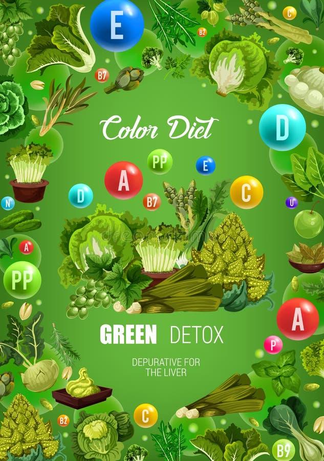 Voeding van het detoxvoedsel van het kleurendieet de groene gezonde stock illustratie