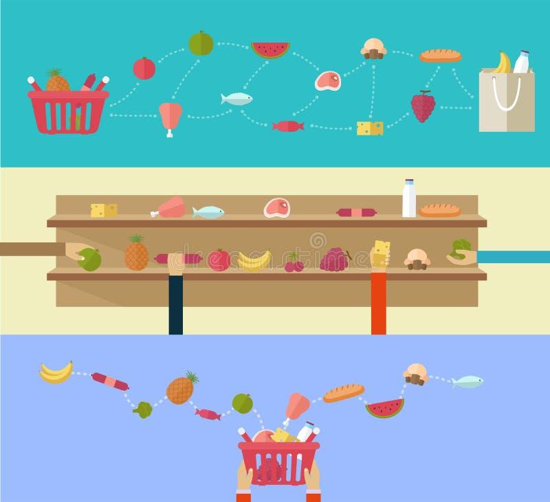 Voedingsmiddelen, concept in de supermarkt winkelen of online sho die royalty-vrije illustratie