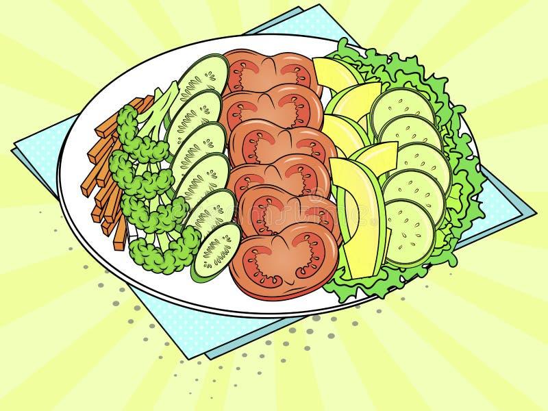 Voedingsproducten op een plaat Een reeks groenten en vruchten Pop-artachtergrond Vector vector illustratie