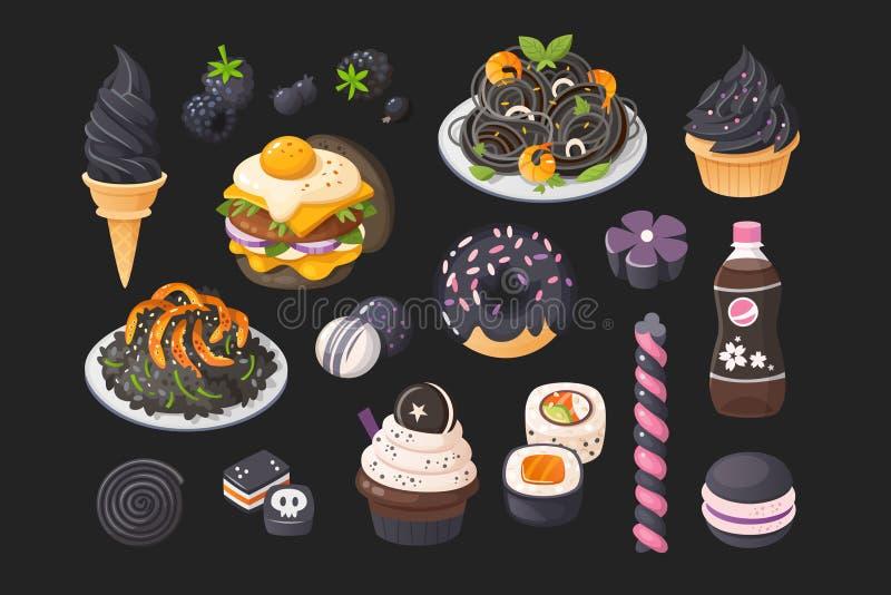 Voedsel dat u in zwarte kleur kunt ontmoeten Vector graphhics royalty-vrije illustratie