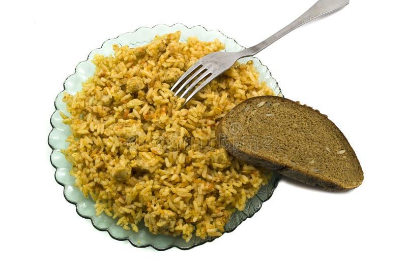 Voedsel in de schotel met brood royalty-vrije stock fotografie
