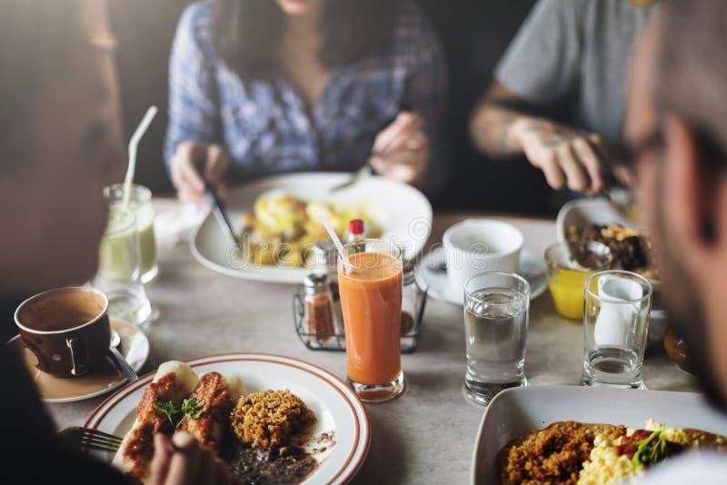 Voedsel die Concept van de Restaurant het Communautaire Koffie eten stock foto's