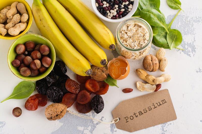 Voedsel die kalium bevatten stock foto's