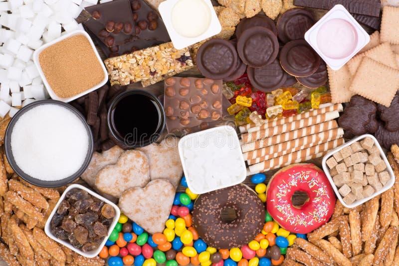 Voedsel die teveel suiker bevatten stock afbeeldingen