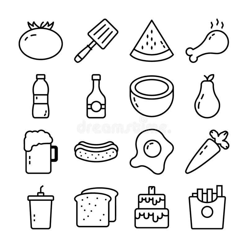 Voedsel, Drank en Keuken Vectorpictogrammenpak vector illustratie