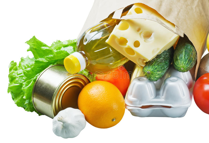 Voedsel in een document zak stock fotografie