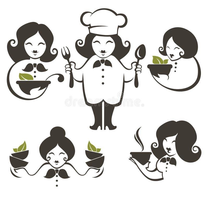 Voedsel en beeldverhaal de silhouetten van de vrouwenchef-kok, vector emble inzameling vector illustratie