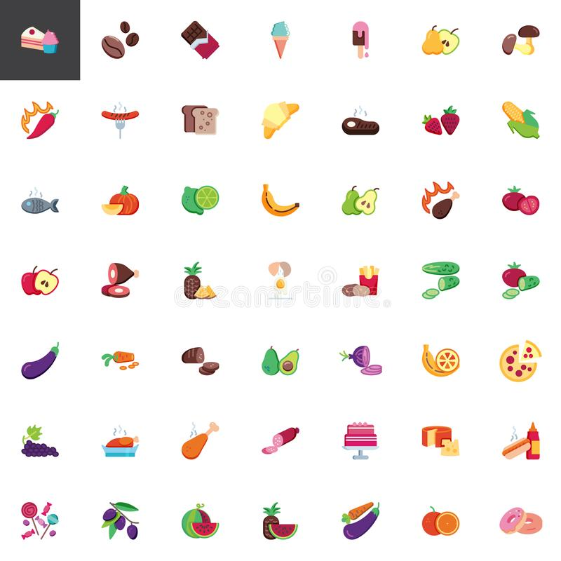 Voedsel en de inzameling van snackselementen stock illustratie