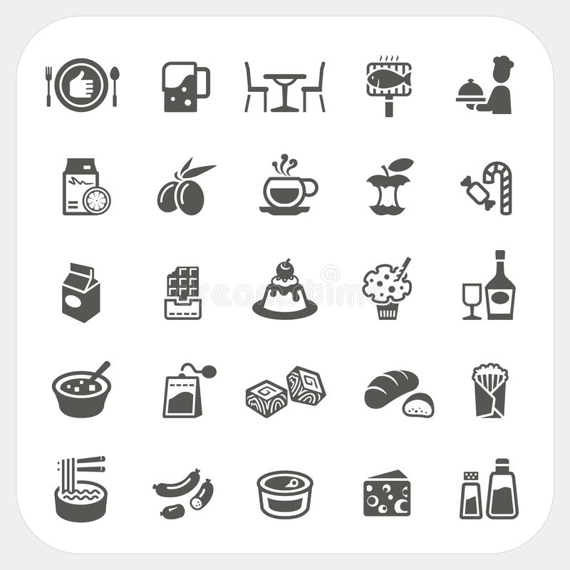 Voedsel en Dessert geplaatste pictogrammen royalty-vrije illustratie