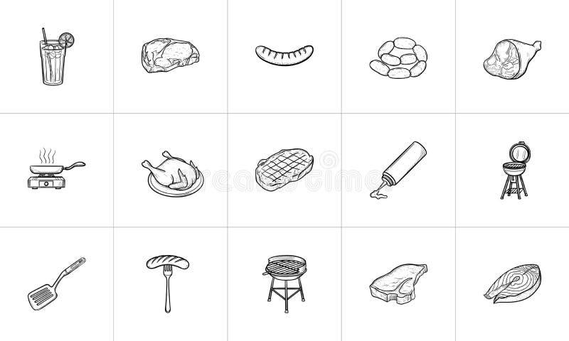 Voedsel en drank de hand getrokken reeks van het schetspictogram royalty-vrije illustratie