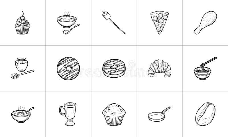 Voedsel en drank de hand getrokken reeks van het schetspictogram stock illustratie