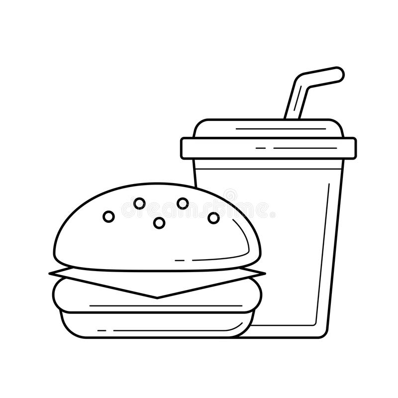 Voedsel en drank meeneem vectorlijnpictogram royalty-vrije illustratie