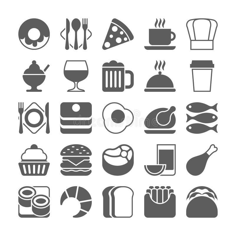 Voedsel en dranken geplaatste pictogrammen stock illustratie
