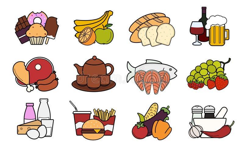 Voedsel en dranken geplaatste pictogrammen kleur vector illustratie
