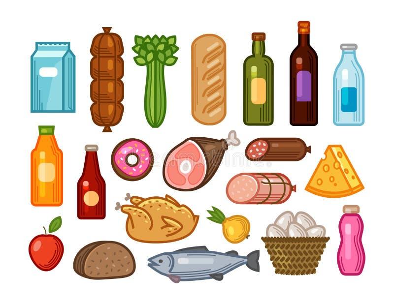 Voedsel en dranken geplaatste pictogrammen Kruidenierswinkel het winkelen concept Vectordieillustratie in vlakke ontwerpstijl wor royalty-vrije illustratie
