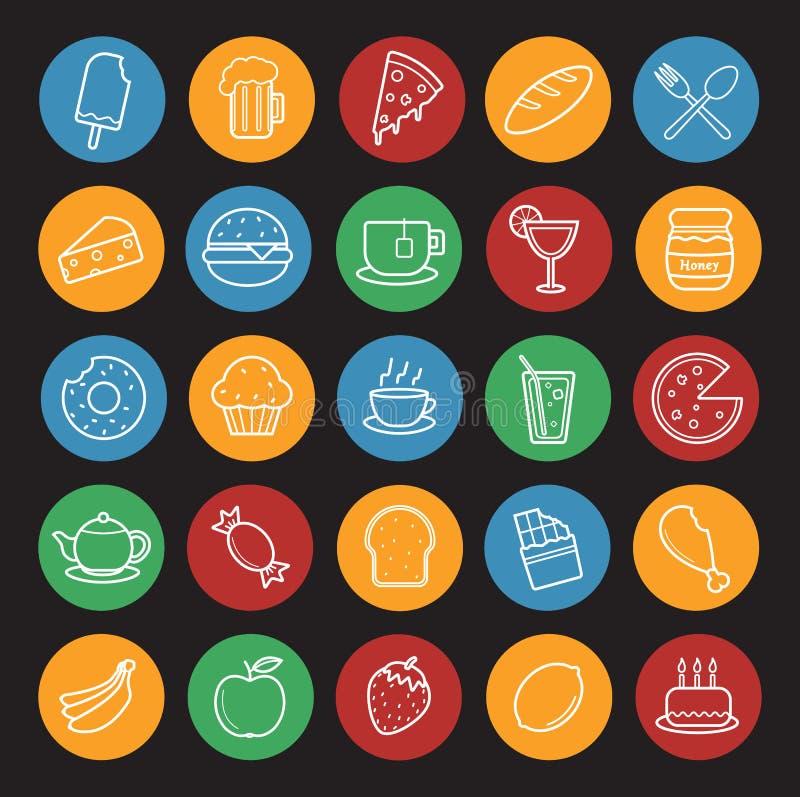 Voedsel en Dranken lineaire geplaatste pictogrammen kleur stock illustratie