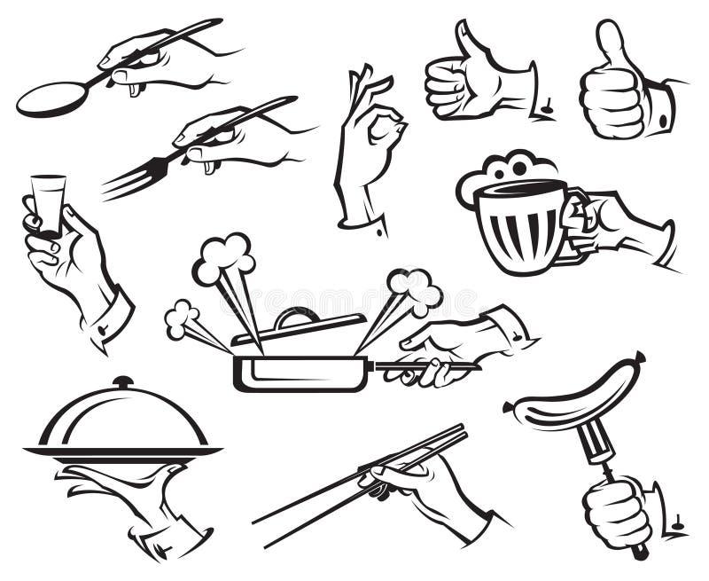Voedsel en handen stock illustratie