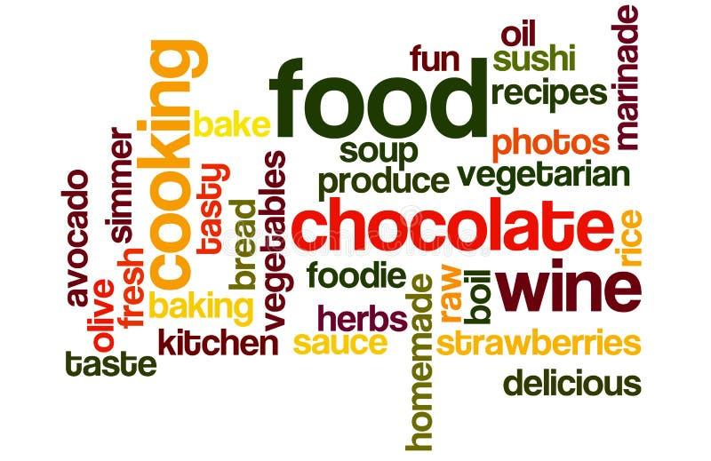 Voedsel en het Koken Wordcloud royalty-vrije stock afbeelding
