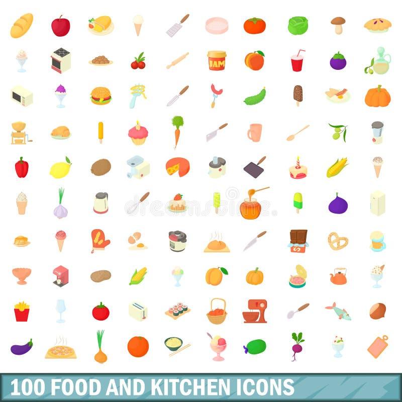 100 voedsel en keuken geplaatste pictogrammen, beeldverhaalstijl royalty-vrije illustratie