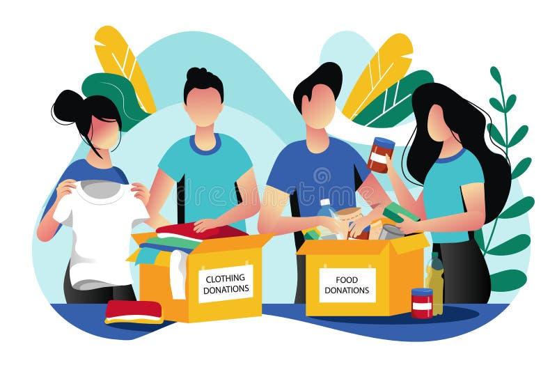 Voedsel en klerenschenking Vector vlakke illustratie Sociaal zorg en liefdadigheidsconcept De vrijwilliger verzamelt schenkingen vector illustratie