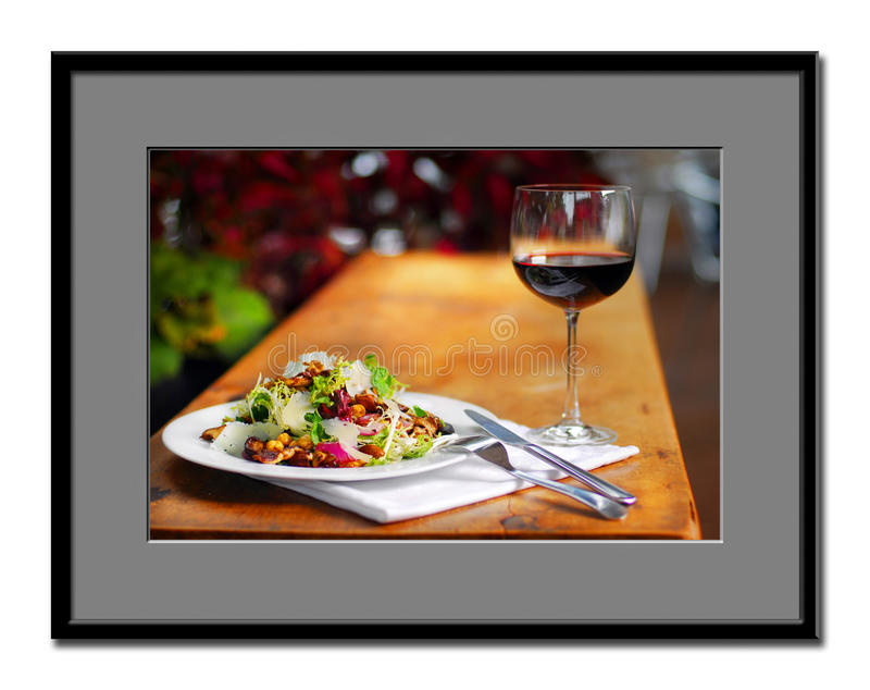 Voedsel en wijn stock foto