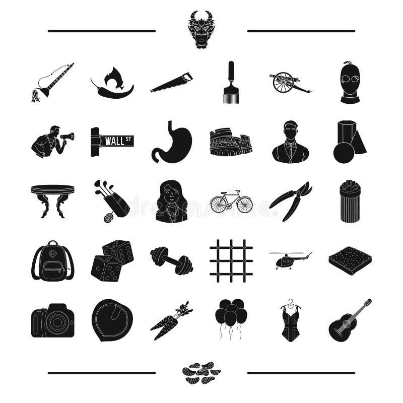 Voedsel, geschiktheid, kruiden en ander Webpictogram in zwarte stijl sporten, reis, misdaad, kunstpictogrammen in vastgestelde in vector illustratie