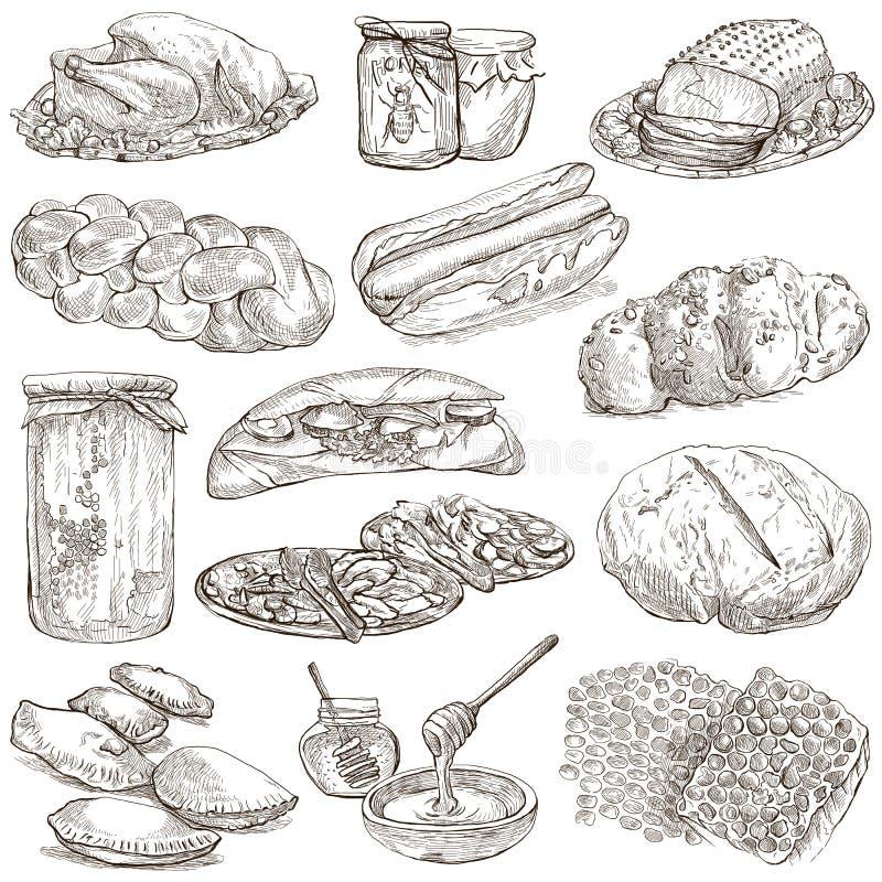 Voedsel - hand getrokken pak Originele schetsen royalty-vrije illustratie