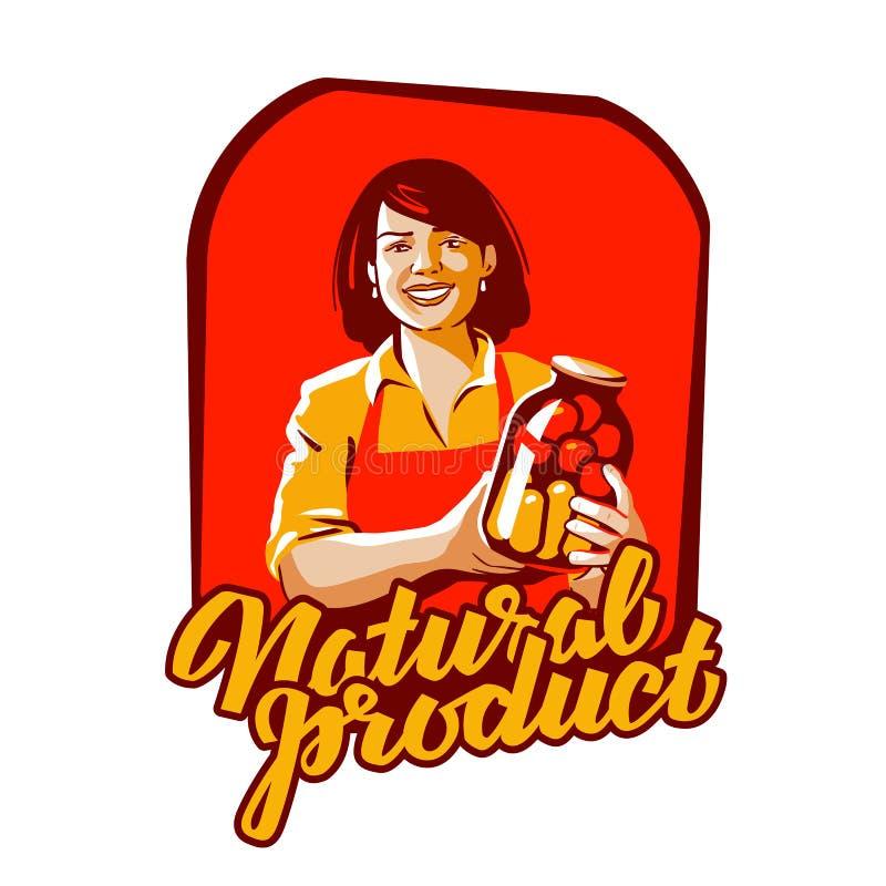 Voedsel, het ontwerpmalplaatje van het natuurlijk product vectorembleem landbouwer, kweker of landbouwbedrijfpictogram royalty-vrije illustratie