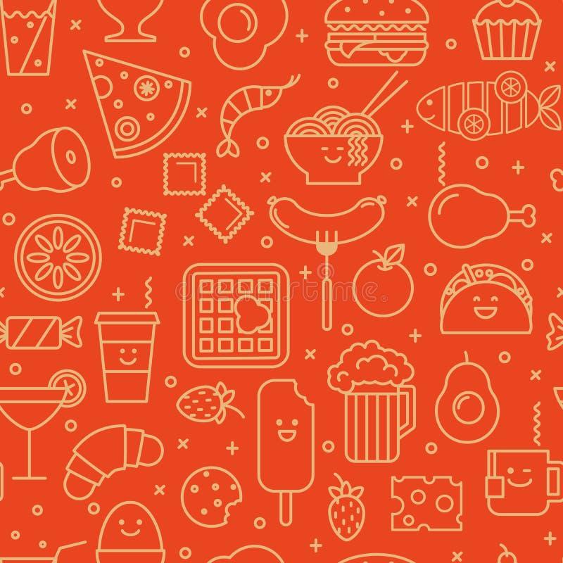 Voedsel iconisch naadloos patroon stock illustratie
