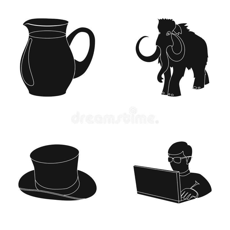 Voedsel, manier en of Webpictogram in zwarte stijl geschiedenis, computerpictogrammen in vastgestelde inzameling royalty-vrije illustratie