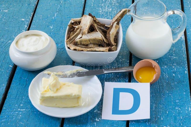 Voedsel met Vitamine D stock afbeeldingen