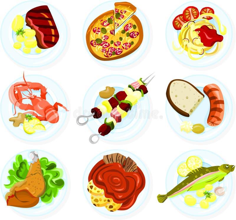 Voedsel op een plaat royalty-vrije illustratie