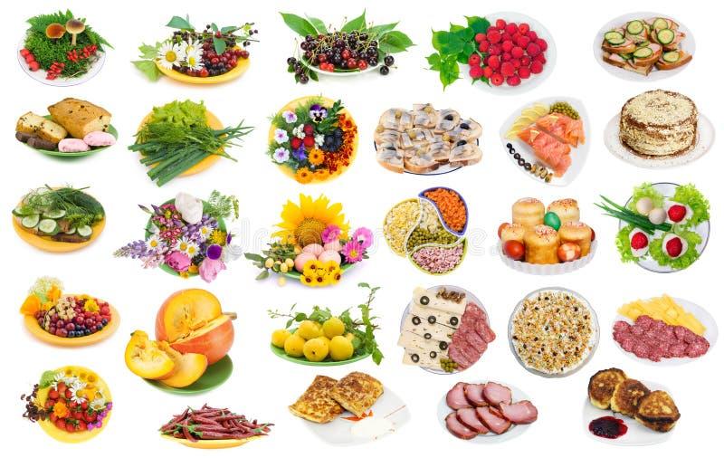 Voedsel op geplaatste platen royalty-vrije stock afbeelding