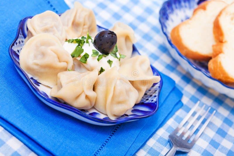 Voedsel - smakelijke cursus - Russische ravioli stock fotografie