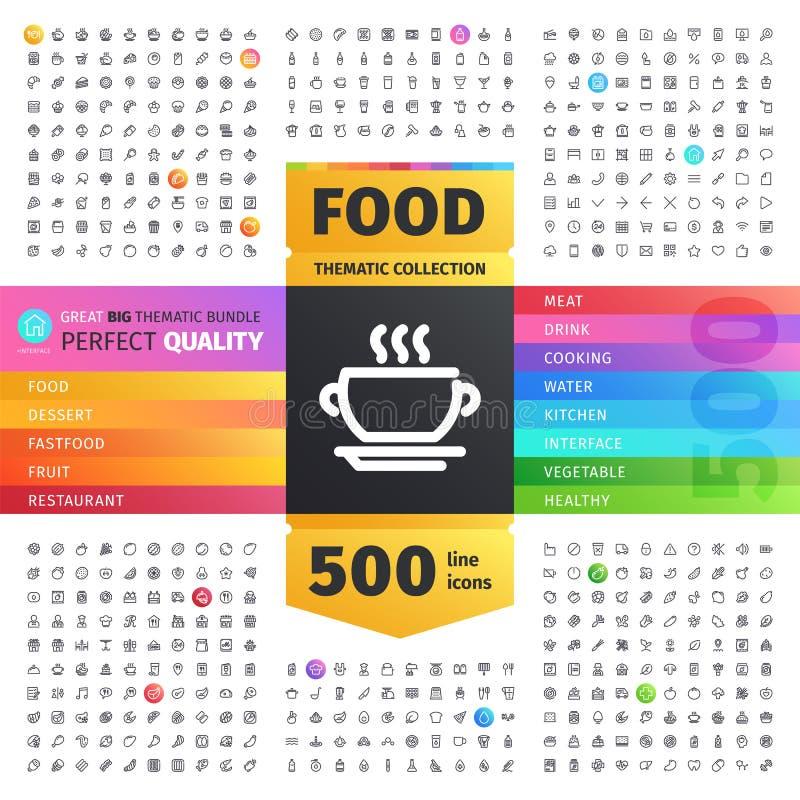 Voedsel Thematische Inzameling van Lijnpictogrammen stock illustratie