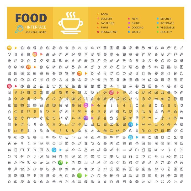 Voedsel Thematische Inzameling van Lijnpictogrammen vector illustratie