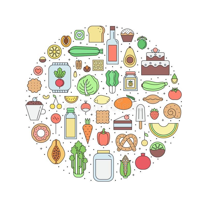 Voedsel & van de drankenkruidenierswinkel de illustratie van de overzichtscirkel Deel Twee royalty-vrije illustratie